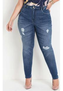 Calça Jeans Sawary 360 Destroyed Plus Size