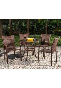 Conjunto De Mesa Com 4 Cadeiras Millena - Alegro - Castanho