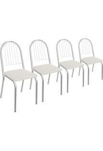 Kit 4 Cadeiras Noruega De Metal Cromado C077 Crome