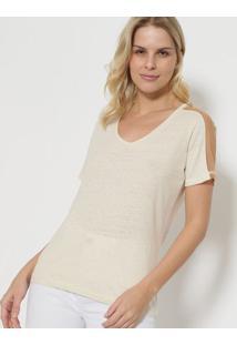 Camiseta Com Linho & Tule - Bege - Tritontriton