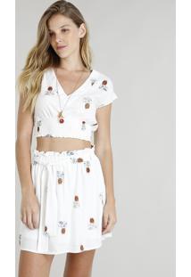 Blusa Feminina Cropped Estampada De Abacaxis Manga Curta Decote V Off White