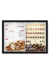 Quadro Porta Rolha Vinho E Tampinha Cerveja (2 Em 1) 33X43 Cm Nerderia E Lojaria Wine Guide E Beer 101 Preto