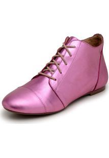 Bota Feminina Casual Confort Cano Curto Ankle Boot Cavalaria Metalizada - Rosa - Feminino - Couro LegãTimo - Dafiti