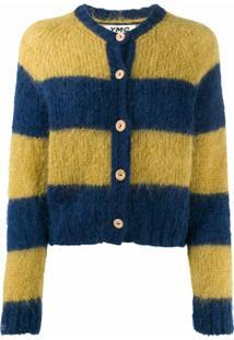 Ymc Striped Knit Cardigan - Azul