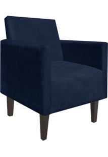 Poltrona Decorativa Compacta Jade Suede Azul Marinho Com Pés Baixo Chanfrado - D'Rossi