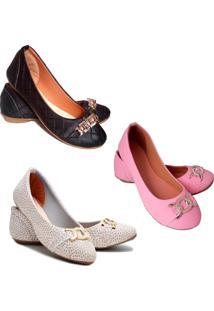 Kit 3 Pares Sapatilhas Feminina Estilo Shoes Rosa - Rosa - Feminino - Sintã©Tico - Dafiti