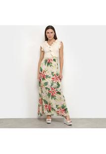 Vestido Longo Allexia Babado Tropical - Feminino-Bege