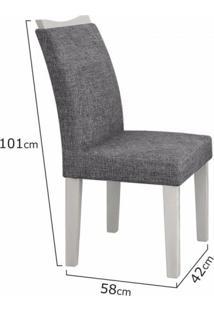 Conjunto Sala De Jantar Mesa Tampo Mdf/Vidro Branco 6 Cadeiras Pampulha Leifer Branco/Linho Cinza