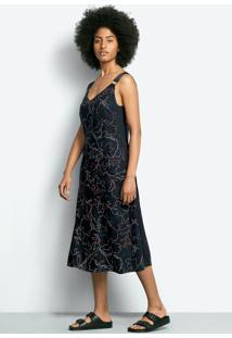 Vestido Midi Em Tecido De Viscose Estampado Com Alças Em Gorgurinho