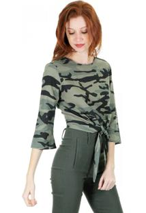 Blusa Cropped Aha Com Nó Camuflado Militar
