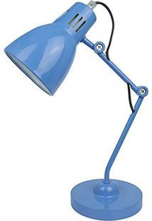 Abajur De Escritório Metal Azul 40X14 Bivolt