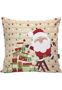 Capa Para Almofada Papai Noel- Bege & Vermelha- 45X4Stm Home