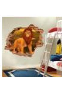 Adesivo De Parede Buraco Falso 3D Infantil Simba - Eg 100X122Cm