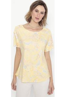 Blusa Floral Com Botões- Amarela & Azul- Cotton Colocotton Colors Extra