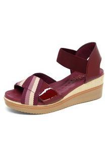 Sandália Malu Super Comfort Anabela Brenda Vermelha