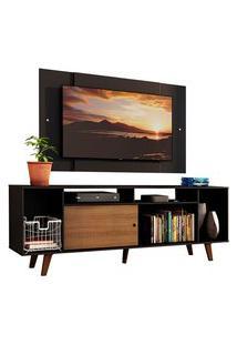 Rack Madesa Cancun E Painel Para Tv Até 58 Polegadas Com Pés - Preto/Rustic D8D8 Preto