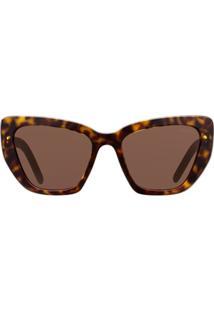 Prada Eyewear Óculos De Sol 'Postcard' - Marrom