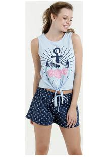 Pijama Feminino Short Doll Estampa Âncora Marisa