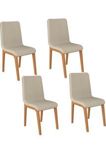 Kit 04 Cadeiras Decorativas Sala De Jantar Madeira Champagne Lins Linho Bege - Gran Belo