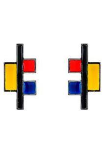 Brinco Málika Mondrian Blocks 4,5Cm