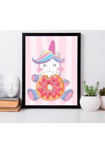 Quadro Decorativo Infantil Cute Unicorn Preto - 30X40Cm - Multicolorido - Dafiti