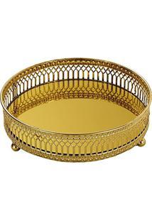 Bandeja Em Metal Com Espelho, Moas, Dourada, 4.5 X 12 X 12 Cm