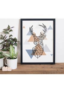 Quadro Decorativo Com Moldura Cervo Escandinavo Preto