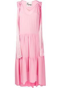 8Pm Vestido Evasê Com Alças Com Efeito De Brilho - Rosa