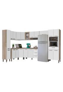 Cozinha Modulada Ametista 11 Módulos Composiçáo 1 Nogal/Branco - Kit'S Paraná