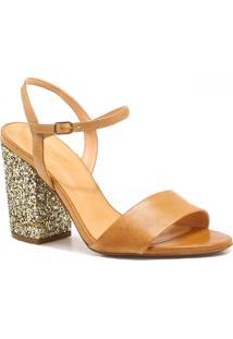 Sandália Zariff Shoes Couro Salto Com Brilho Marrom