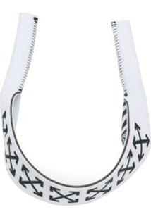 Off-White Bracelete De Couro Com Logo - Branco