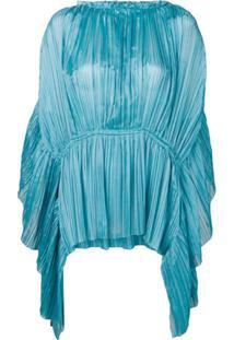Alberta Ferretti Blusa Assimétrica Com Pregas - Azul