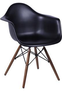Poltrona Eames Dkr Com Braã§Os- Preta & Bege Escuro- Or Design