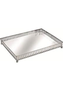 Bandeja Prata Em Metal Com Espelho, Moas, Preto, 5666