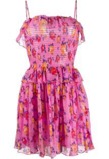 Msgm Floral Print Dress - Rosa