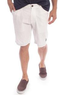 Bermuda Sarja Ray Aleatory Masculina - Masculino-Branco