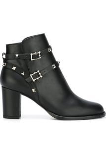 Valentino Ankle Boot Modelo 'Rockstud Noir' - Preto