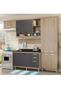 Cozinha Compacta 9 Portas 3 Gavetas Sicilia 5839 Premium Argila/Grafite - Multimóveis