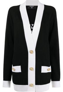 Balmain Cardigan Com Padronagem De Logo - Preto