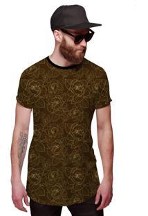 Camisa Di Nuevo Longline Marrom Com Flores Douradas Em Linhas