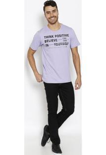"""Camiseta """"Think Positive""""- Lilás & Preta- Coca-Colacoca-Cola"""