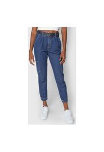 Calça Jeans Dzarm Jogger Bolsos Azul
