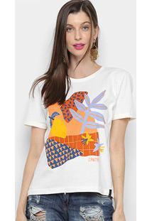 Camiseta Cantão Slim Lemon Feminina - Feminino-Branco
