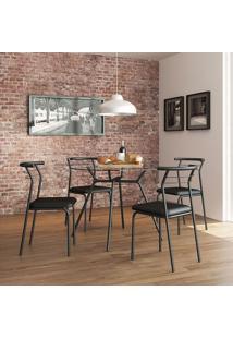 Mesa 1527 Vidro Incolor Com 4 Cadeiras Color 1708 Preta Carraro