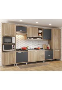 Cozinha Compacta Multimóveis 17 Portas E 5 Gavetas Argila/Grafite