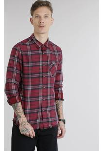 Camisa Masculina Em Flanela Xadrez Com Bolso Manga Longa Vinho