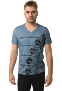 Camiseta Osmoze Gola V Roda Gigante Masculina - Masculino-Azul