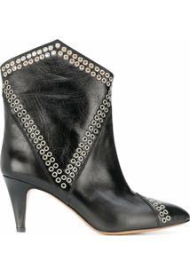 Isabel Marant Ankle Boot Lahia Com Ilhoses - Preto