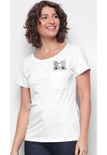 Camiseta Top Moda C/ Bolso Bordada Manga Curta Feminina - Feminino-Branco