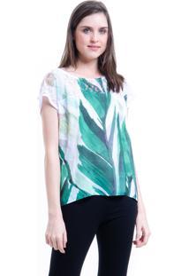 Blusa 101 Resort Wear Tunica Crepe Mangas Curtas Estampada Folhas Verdes